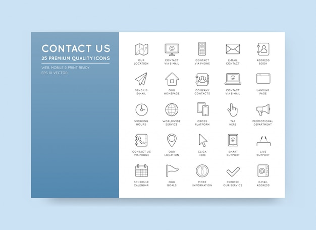 Set of contact us service icons assistance support Premium Vector