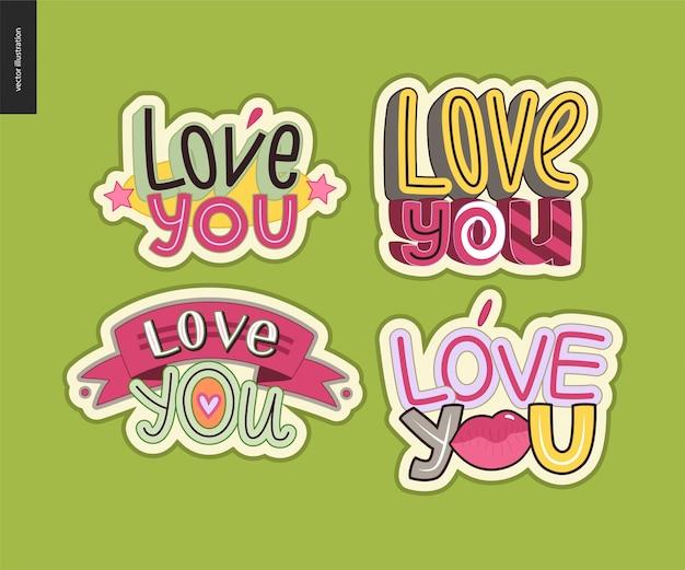 Set of contemporary girlie love you letter logo Premium Vector