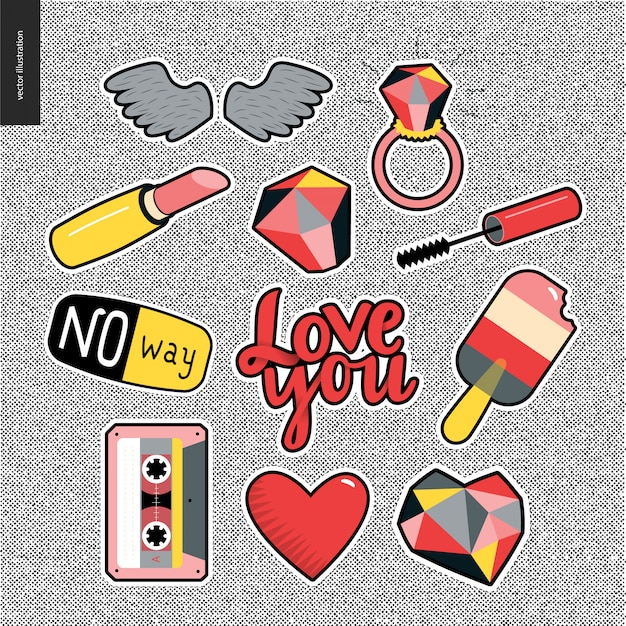 Set of contemporary girlish patches elements on denim background. Premium Vector
