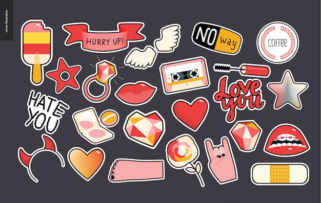 Set of contemporary girly patches elements Premium Vector