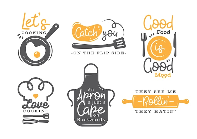 Set of cooking quotes label, typography and lettering Premium Vector