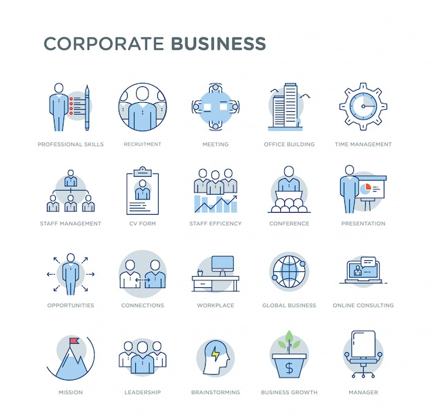 Set of corporate business related vector colored icons. contains such icons as professional skills, business growth, recruitment, online consulting, leadership Premium Vector
