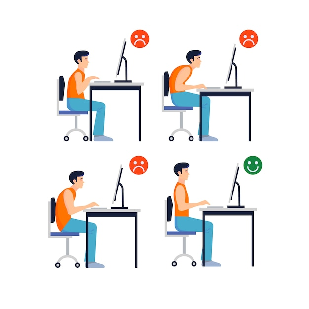 Set of correct and incorrect postures in front of the computer Premium Vector