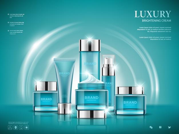 진한 파란색 배경에 화장품 광고, 파란색 패키지 디자인 설정 프리미엄 벡터