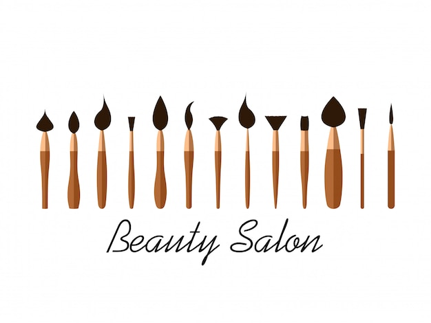 Set of cosmetic brushes for beauty salon Premium Vector