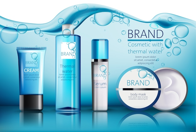 Set of cosmetic with place for text. thermal water, serum, cream, body mask. realistic . product placement. water with bubbles on background Free Vector