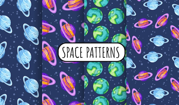 Set of cosmos seamless space pattern background with planets with rings. collection of solar system planets children wallpaper texture tiles. Premium Vector