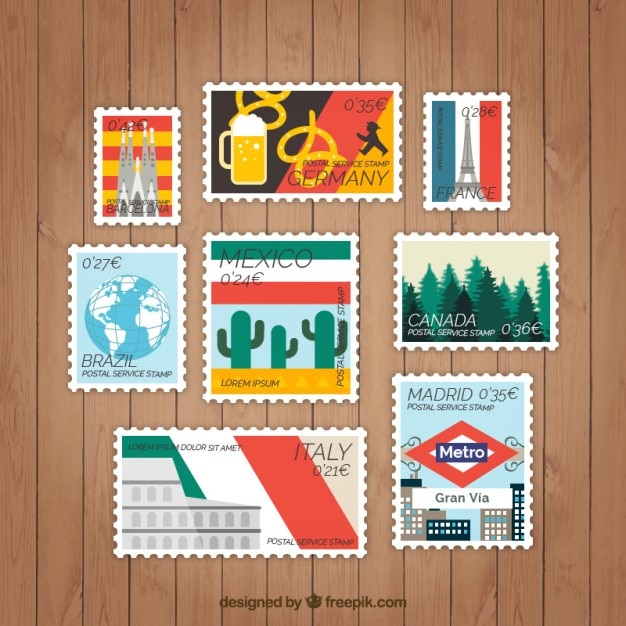Set of countries tag in flat design Free Vector