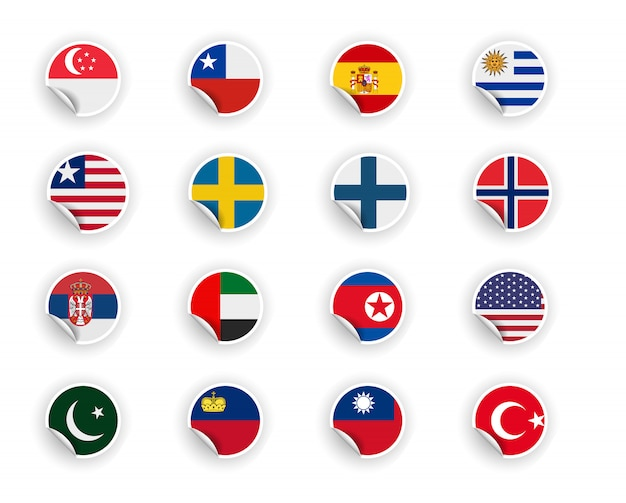 Set of country flag in stickers Premium Vector
