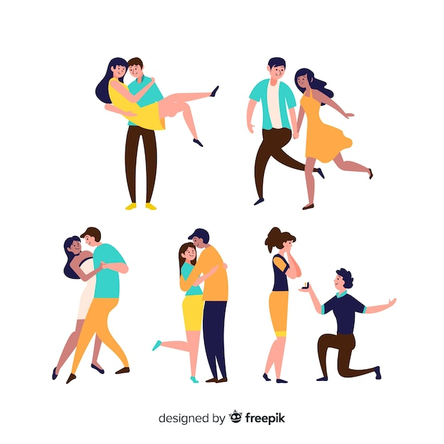 Set of couple doing things Free Vector