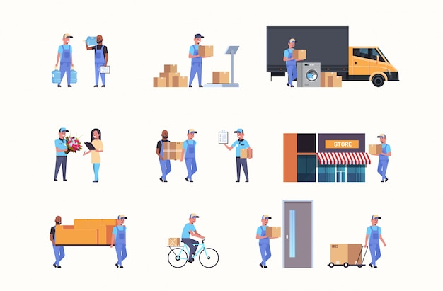 Set couriers in different working situations express delivery service s collection Premium Vector