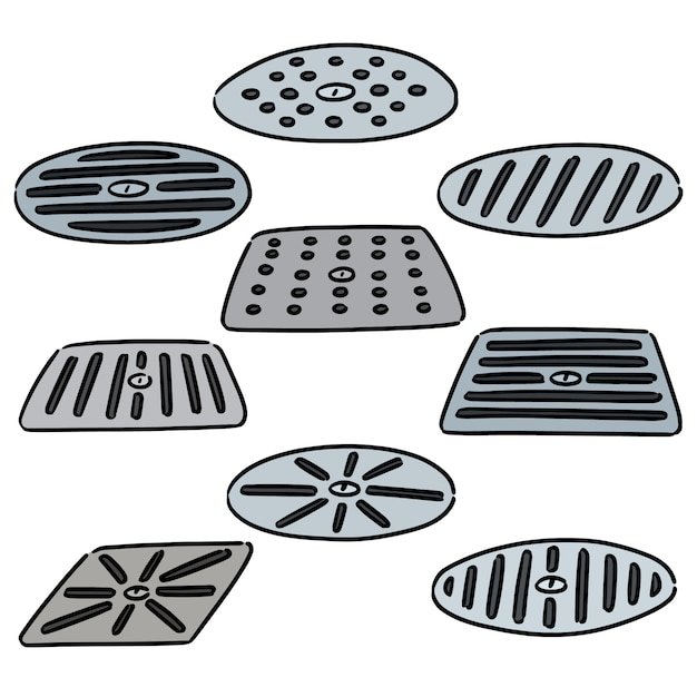 Set of cover the drain Premium Vector