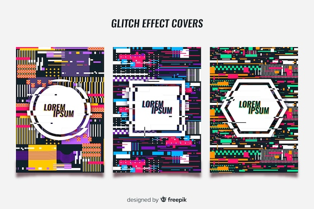 Set of covers with colorful glitch effect Free Vector