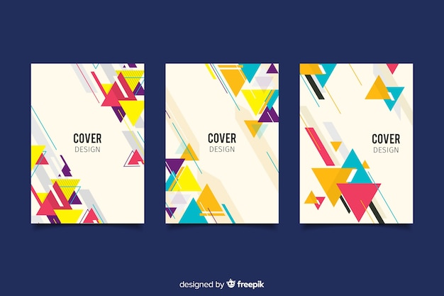 Set of covers with geometric design Free Vector