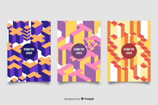 Set of covers with geometric designs Free Vector