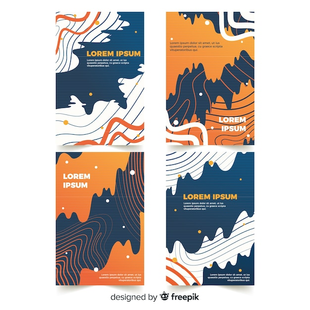Set of covers with glitch effect Free Vector