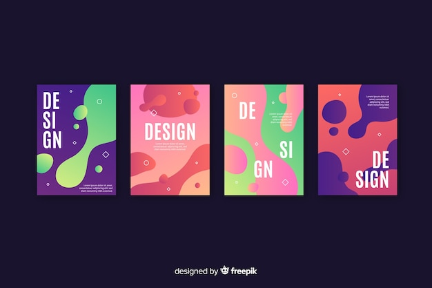 Set of covers with liquid effect Free Vector