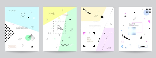 Set of covers with minimal design and geometric forms Premium Vector