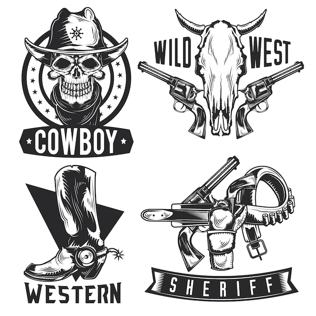 Set of cowboy emblems, labels, badges, logos. isolated on white Free Vector