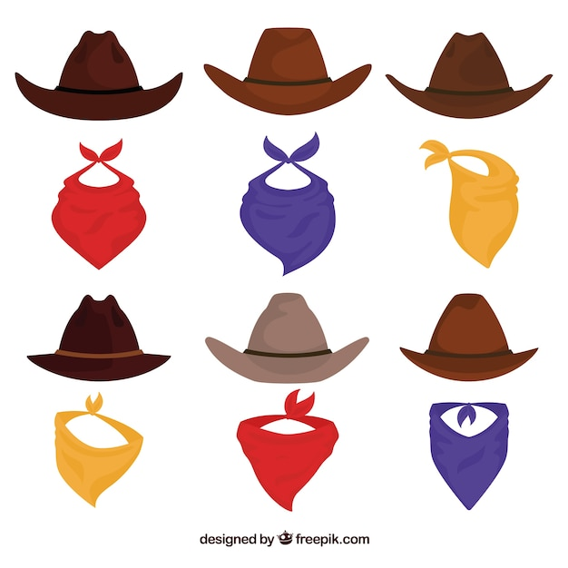Set of cowboy hats and scarf Free Vector
