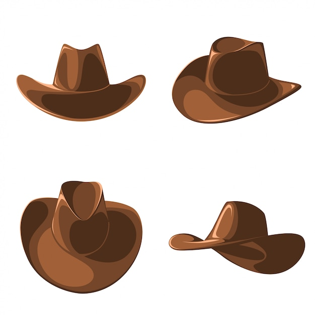 A set of cowboy hats. Premium Vector