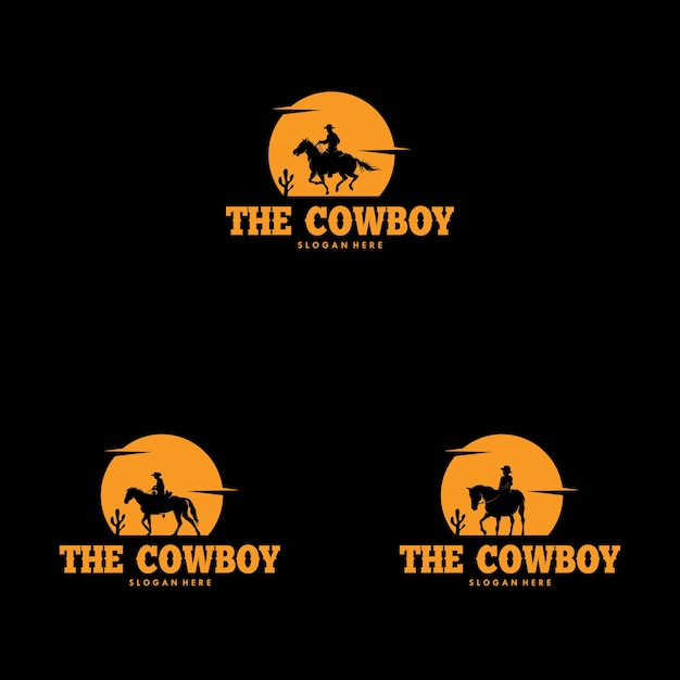 Set of cowboy riding horse silhouette at night logo Premium Vector