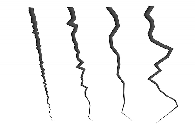 Set of cracked lines. crash effect Premium Vector