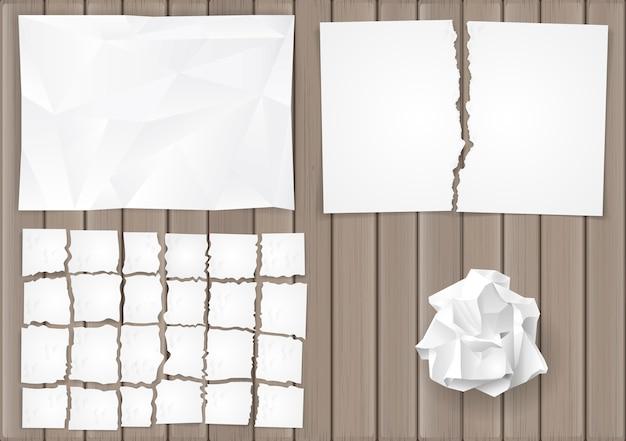 Set creasy paper sheets Premium Vector