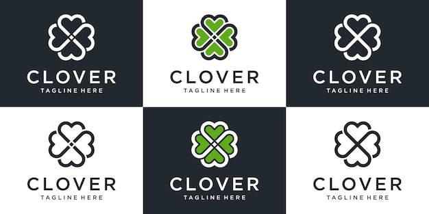 Set of creative abstract clover logo with line art design collection. Premium Vector