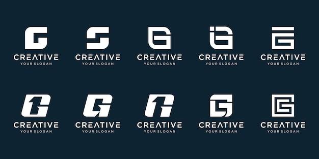 Set of creative abstract monogram letter g 1 logo design. Premium Vector