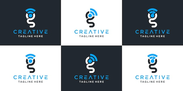 Set of creative abstract monogram letter g and signal logo design inspiration Premium Vector