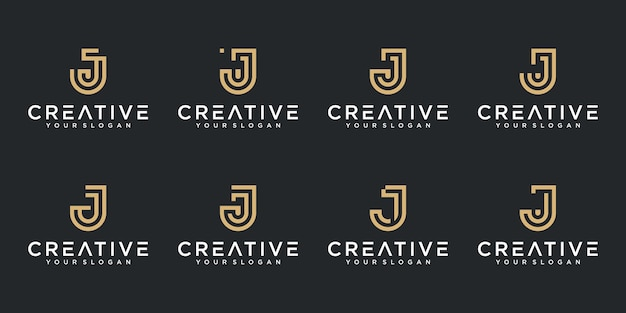 Set of creative abstract monogram letter j logo design collection Premium Vector