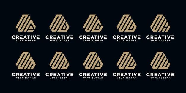 Set of creative abstract monogram letter n  logo design template