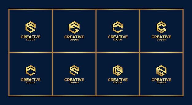 Set of creative abstract monogram logo design template. logotypes for business of luxury, elegant, simple. letter c Premium Vector