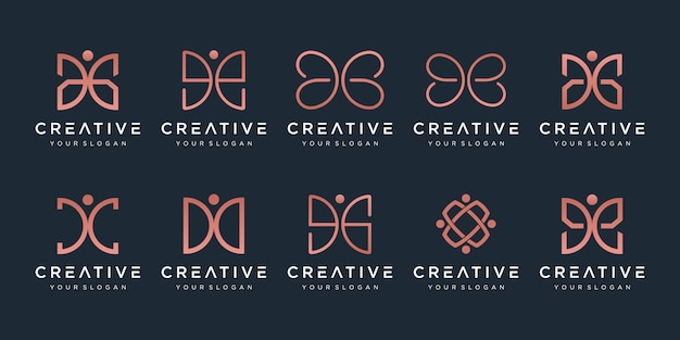Set of creative abstract monogram logo . Premium Vector