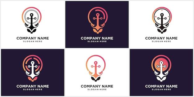 Установить творческий дизайн логотипа концепции формы лампы якоря Premium векторы