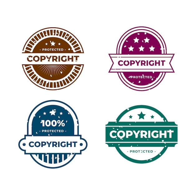 Set of creative copyright stamps Free Vector