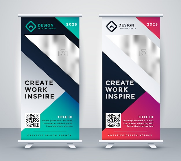 Set of creative display rollup standee banner Free Vector