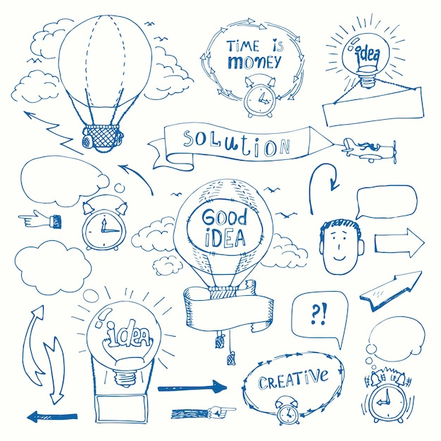 Set of creative doodles thinking concept. business idea, solution, creativity and success. Free Vector