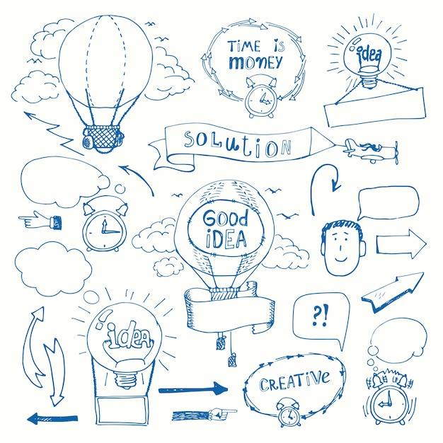 Insieme del concetto di pensiero creativo scarabocchi. idea imprenditoriale, soluzione, creatività e successo. Vettore gratuito