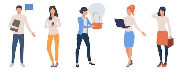 Set of creative freelancers working online Free Vector