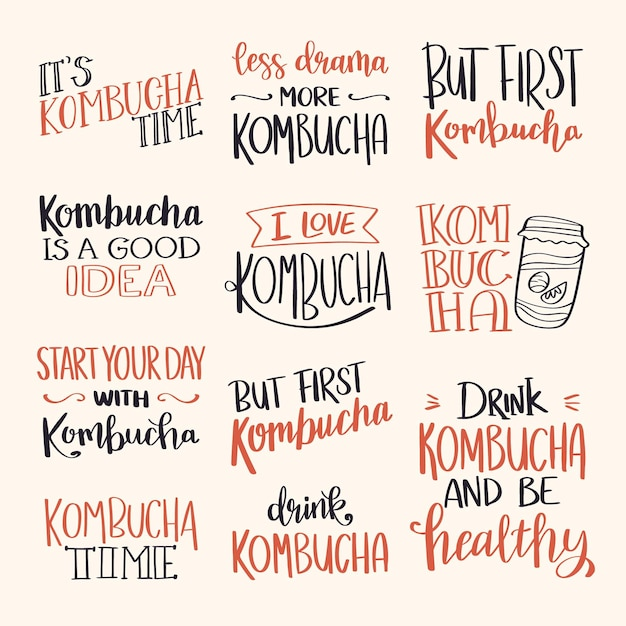 Set di scritte creative del tè kombucha Vettore gratuito