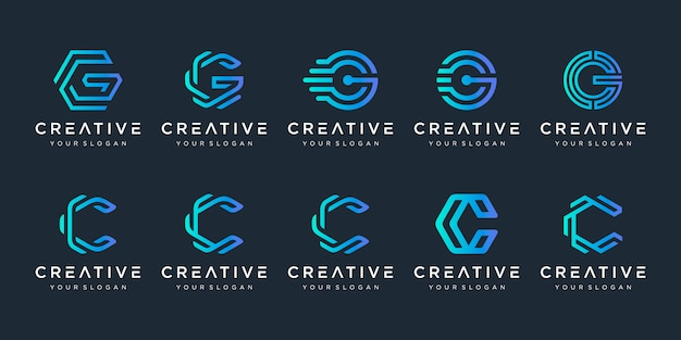 Set of creative letter c and letter g logo  template Premium Vector