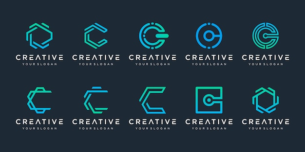 Set of creative letter c logo design template. logotypes for business of technology, digital, simple. Premium Vector
