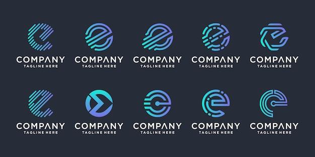 Set of creative letter e logo design inspiration Premium Vector