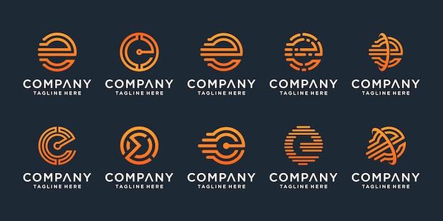 Set of creative letter e logo design template. s for business of luxury, elegant, simple. Premium Vector