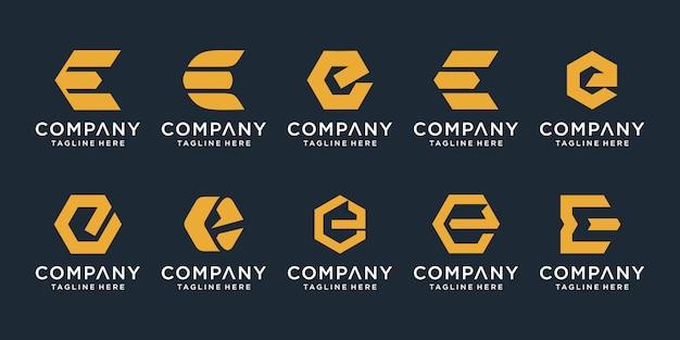 Set of creative letter e logo design template. Premium Vector