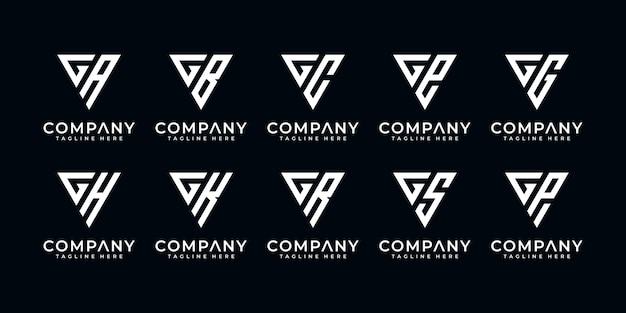 Set of creative letter g and etc logo template with triangle art style. icons for business of finance, consulting, simple. Premium Vector