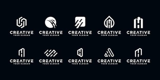 Set of creative letter h logo design template