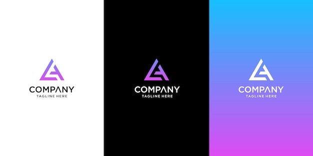 Set of creative letter la logo design template premium Premium Vector